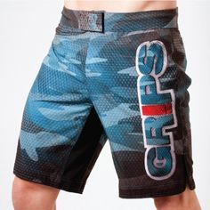 Grips Athletics Carbon Army Fight Shorts (Blue)