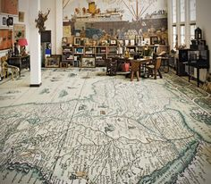 A world map carpet.