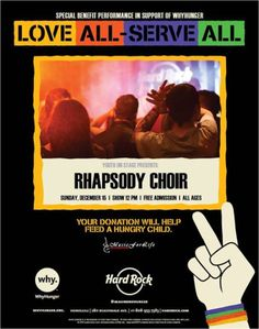 Honolulu, HI Youth On Stage presents amazing choir band, Rhapsody singing holiday music this Sunday at 12pm. 15% off for Kama'aina and happy hour specials.  Your donation will help feed a hungry child. Click flyer for more >>