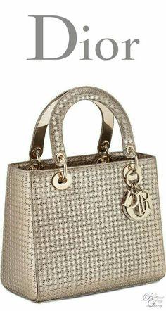 791dec1e4a36 Brilliant Luxury   Dior Cruise 2016 ~ Lady Dior bag in champagne metallic  calfskin with micro-cannage motif