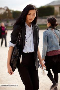 Liu Wen + I love the look.