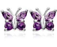Round and marquise-shaped amethyst stones form bright butterfly wings in these charming sterling silver stud earrings. The stones are held securely in prong set Amethyst Jewelry, Amethyst Earrings, Sterling Silver Earrings Studs, Silver Jewelry, Funky Jewelry, Amethyst Stone, Girls Earrings, Stud Earrings, Jewelry King