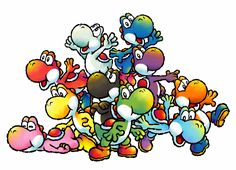 So many yoshis why are there so many yoshies why how its beautiful