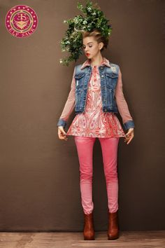 Women's Vintage Retro Lace Lapel Washed Orange Denim Jacket