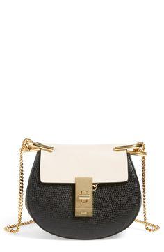 Chloé 'Nano Drew' Lambskin & Calfskin Leather Shoulder Bag