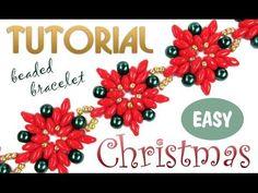 Tutorial: Christmas beaded bracelet [EASY] using Superduo beads / Рождес. Free Beading Tutorials, Beading Projects, Beading Patterns, Loom Patterns, Loom Beading, Beaded Christmas Ornaments, Christmas Earrings, Christmas Cross, Wedding Jewellery Designs