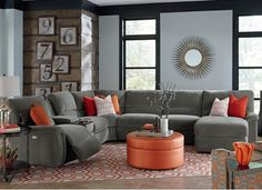 The Application Of Orange And Cool Grey In This Living Room Set Mesmerizing Living Room Furniture Stores Design Ideas