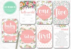 Sweet Floral  Baby Milestone Cards