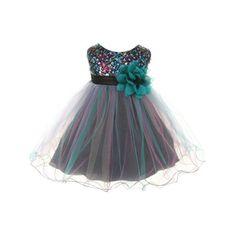 c96b4ee741 Kids Dream - Kids Dream Baby Girls Teal Multi Sequin Tulle Special Occasion  Dress 12M - Walmart.com