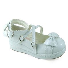 Antaina Sweet Doll Heads Lolita Flatform Shoes With Bows