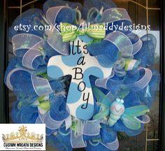 Its a Boy Mesh Cross Wreath.