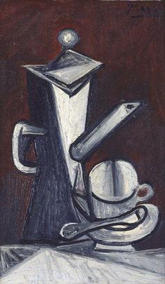 """Pablo Picasso - Nature morte """"la cafetière"""" (Still Life """"The Coffee Pot""""), 1944; oil on canvas, 21 3/4 in. x 17 3/8 in. (55.25 cm x 44.13 cm); Collection SFMOMA."""