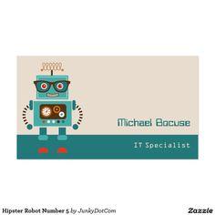 Hipster Robot Number 5 Business Card Dec 31 2016 @zazzle #junkydotcom #zazzle #december #2016 #holidays  10x