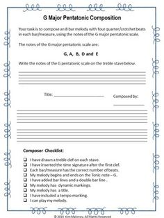 FREE Download!      G Major Pentatonic Composition Task.           This composition task is suitable for grades 5-8, depending on the students' background knowledge.