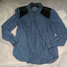 Forever 21jean top Cute button up Forever 21 jean top, with faux leather shoulders, perfect condition! Forever 21 Tops Button Down Shirts