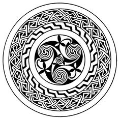 Celtic Pattern - Spiral Ornament with Key Pattern Border from the Book of Kells. This looks amazingly like Native American pottery. Everything's connected.