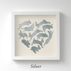 Bunny Heart  Original Silver Painting  Silver by SilkeSpingies