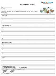 Potluck Sign Up Sheet Template  Sign Up Sheets