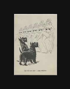 Vintage Scottish Terrier Dogs Watch Dance.  Funny Print by Hy Ken 1938 8X10 Mat