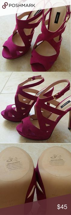"Mango purple suede strappy sandals high heel Lovely Mango strappy high heels. I never worn them. They make your legs are gorgeous.  Heels = 5"" Plat form =1"" Mango Shoes Platforms"