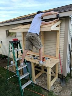 of shed landscaping build this giant potting bench slash garbage can enclosure {Reality Daydream} Outdoor Potting Bench, Potting Tables, Outdoor Seating, Potting Bench With Sink, Rustic Potting Benches, Potting Bench Plans, Potting Sheds, Potting Soil, Outdoor Sinks