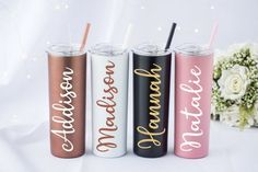 This item is unavailable Personalized Tumblers, Custom Tumblers, Personalized Gifts, Water Bottle With Straw, Tumbler With Straw, Brides Maid Proposal, Small Canvas Art, Bridal Shower Party, Name Design