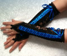 Black with blue ribbon fingerless gloves Corset by galinesa