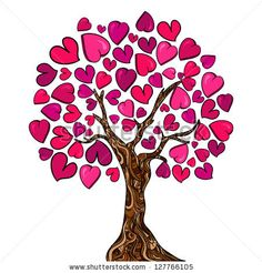 Illustration of Valentine day hand-drawn love tree made of hearts. Vector illustration layered for easy manipulation and custom coloring. vector art, clipart and stock vectors. Valentine Day Love, Valentines, Valentine Ideas, Family Tree Images, Free Cliparts, Tree Designs, Abstract Pattern, Cool Drawings, Vinyls