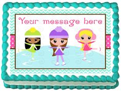 ICE SKATES GIRLS Edible image Cake topper decoration #Unbranded