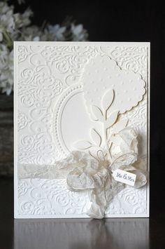 Wedding card shabby chic handmade blank inside by Cardsters, $3.95