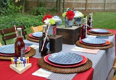 Cute outdoor BBQ party setup