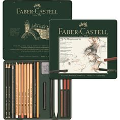 Faber-Castell PITT Monochrome tin of 21 - 21-piece set in a metal case in professional quality. Set includes 2 pencils CASTELL 9000 2B, 6B, 1 PITT Graphite Pure pencil 6B, 2 PITT OIL BASE pencils, 4 oil-free PITT PASTEL pencils, 6 oil-free PITT PASTELS, 1 pressed PITT charcoal stick, 1 natural PITT charcoal stick, 1 natural PITT charcoal pencil, 1 pressed PITT charcoal pencil, 1 kneadable Art Eraser, 1 paper wiper