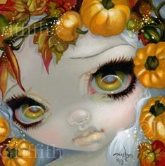 """Happy Halloween! A new autumn themed painting - """"Faces of Faery #213"""" 6""""x6"""" Acrylic on Masonite Original painting SOLD Lt. Ed Canvases $75 here: http://www.ebay.com/itm/400597668416 Signed paper prints are here: http://www.ebay.com/itm/400597538217"""