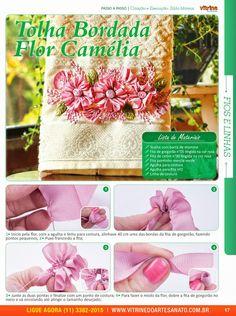 Vitrine do Artesanato - Toalha com flor camélia