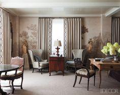 grey traditional living room  Elle Decor