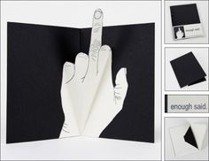 The Finger Enough Said pop-up cards