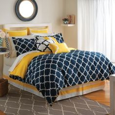 The Hampton Links Comforter Set combines modern style and easy comfort. It featu. - The Hampton Links Comforter Set combines modern style and easy comfort. It features a link design in yellow and navy that brings style and versatility to your bedroom. Navy Yellow Bedrooms, Blue Bedroom, Bedroom Colors, Master Bedroom, Bedroom Decor, Blue And Yellow Bedroom Ideas, Trendy Bedroom, Blue And Yellow Bedding, Mustard And Grey Bedroom