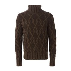 Al Duca d' Aosta 1902 Cable Knit Sweater (1100 MAD) ❤ liked on Polyvore featuring men's fashion, men's clothing, men's sweaters, brown, mens ribbed sweater, mens cable knit sweater, mens ribbed turtleneck sweater, mens brown sweater and mens cable sweater