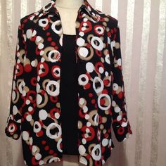 ✅ NOTATIONS TOP #oo /300SVDP NWT This is a beautiful top. It has a Black shell liner attached. It has half sleeves with buttons on the cuff for easy access. The top can be worn open or closed with button down front. The colors are Dark Wine/Black/Tan/White circles. 100% Polyester  I am a  Top- Rated Seller  Fast Shipper I offer  $ Discount on Bundles  Free Gift For All Orders $20 & Up And  Paypal Trades Notations Tops