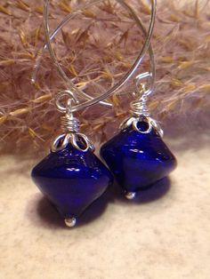 Cobalt Blue Earrings Venetian Glass Earrings by LadonnaStudio, $33.00