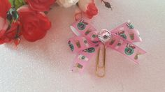 Pink Starbuck's Planner Clip Bow by DixiePlannerDesigns on Etsy