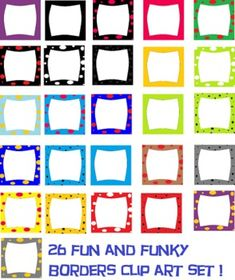 26 colorful polka dots, solids, and stars borders clip art! SO CUTE! use for posters, designs, and items :)