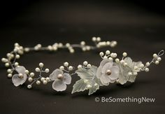 Hair vine, Wired pearls and vintage flower headpiece, wedding hair