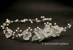 Hair vine, Wired pearls and vintage flower headpiece, wedding hair