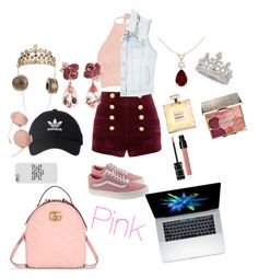 """pink"" by giuliaabalanuta on Polyvore featuring Pierre Balmain, Boohoo, MANGO, Vans, Gucci, adidas, Linda Farrow, Frends, Anyallerie and Garrard"