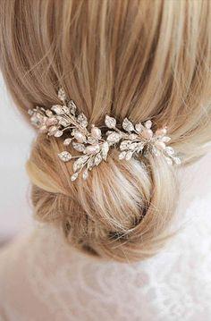 OPHELIA | silver blush hair comb