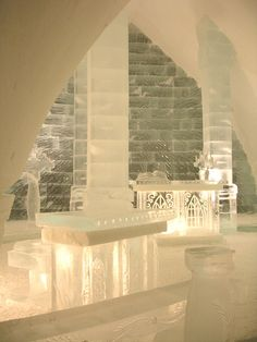 Ice Hotel, rebuilt every winter in Quebec city. It has all the amenities and services you find in every hotel.