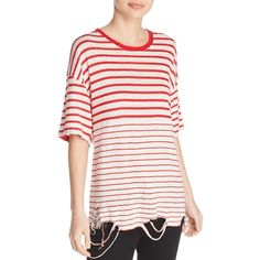 Iro.jeans Cuarenbo Striped Tee (615 ILS) ❤ liked on Polyvore featuring tops, t-shirts, striped t shirt, linen tops, white linen tee, white linen t shirt and white top