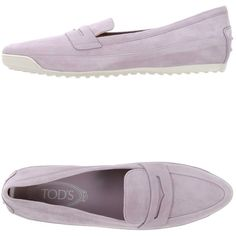 Tod's Moccasins ($225) ❤ liked on Polyvore featuring shoes, loafers, lilac, leather moccasin shoes, lilac shoes, genuine leather shoes, loafers moccasins and moccasin style shoes