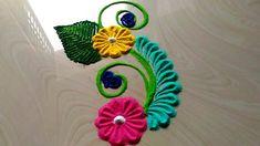 2 minutes rangoli designs/small & quick rangoli design with flowers by jyoti Rathod Easy Rangoli Designs Videos, Rangoli Designs Latest, Simple Rangoli Designs Images, Rangoli Designs Flower, Rangoli Border Designs, Modern Mehndi Designs, Rangoli Patterns, Colorful Rangoli Designs, Rangoli Ideas
